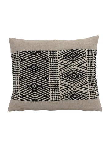 Limited Edition Tribal Black and Natural Embroidery Pillow 34211