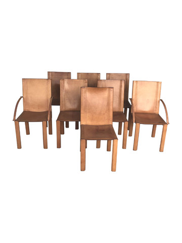 Set of (8) Matteo Grassi Leather Dining Chairs 35392