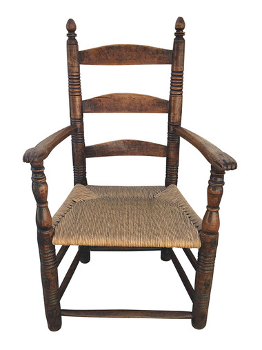 French Rush Seat Primitive Chair 34485