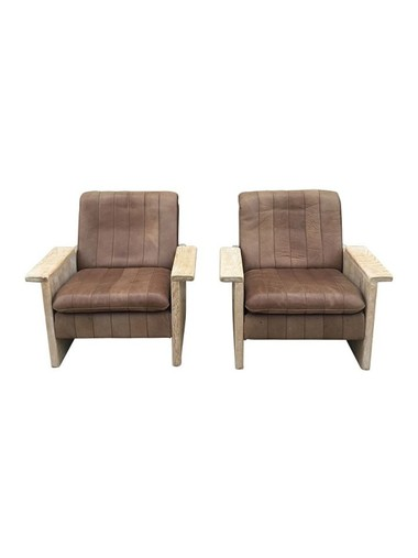 Pair of Limited Edition Oak and Leather Arm Chairs 31026