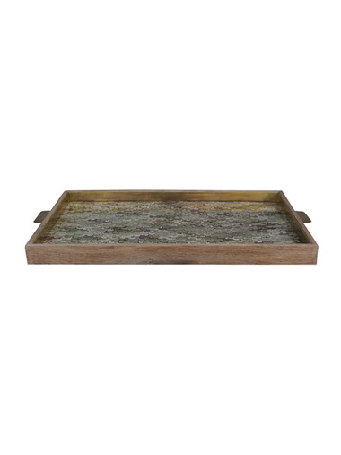 Limited Edition Oak And Vintage Marbleized Paper Tray 31374