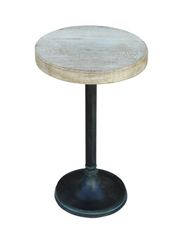 Limited Edition Oak Top and Vintage Brass Base Side Table 26760