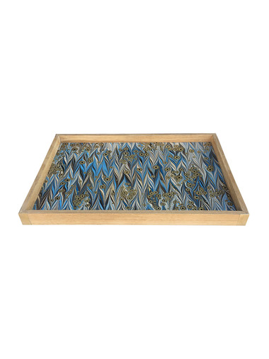 Limited Edition Oak Tray With Vintage Marbleized Paper 33944