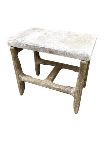 Limited Edition Oak and Antique Stone Side Table 35103