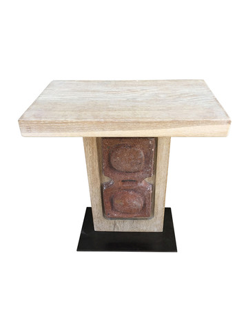 Limited Edition Oak and Ceramic Element Side Table 36148