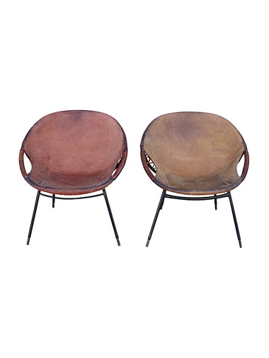 Pair of Vintage Swedish Leather Armchairs 31557