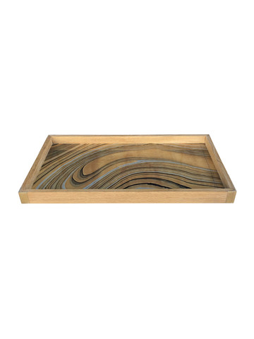 Limited Edition Oak Tray With Vintage Marbleized Paper 34065