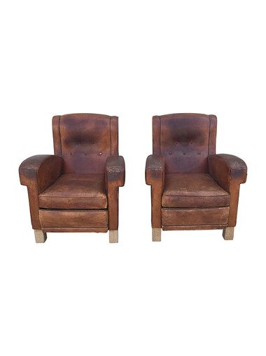 Pair French 1940 Club Chairs 30731