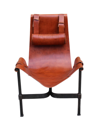 French Leather Sling Chair 32755