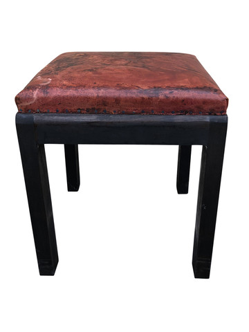 Ebonized Stool with Vintage Leather Top 35593