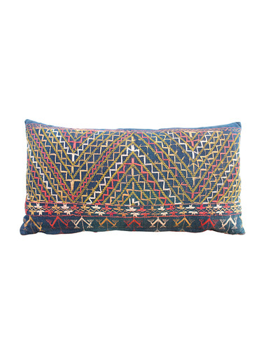 19th Century African Indigo Embroidered Textile Pillow 30002
