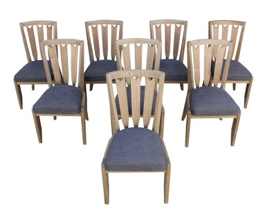 Set of (8) Guillerme & Chambron Oak Dining Chairs 34446