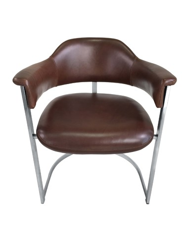 Willy Rizzo Chrome and Leather Desk Chair 23990