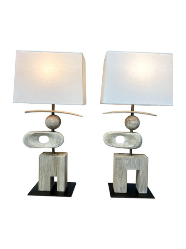 Pair of Limited Edition Wood Sculptural Elements Lamps 36798