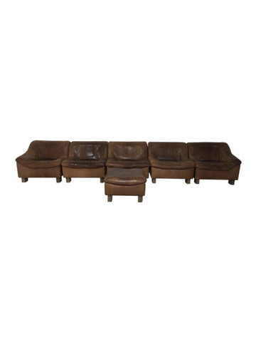 Exceptional 5-Piece DeSede Leather Sofa and Ottoman 37221