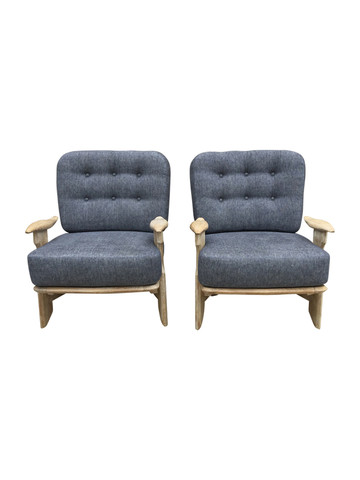 Pair of Guillerme & Chambron Oak Armchairs 35312