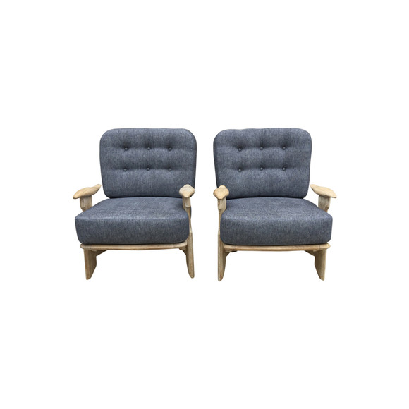 Pair of  Guillerme & Chambron Oak Arm Chairs 34511