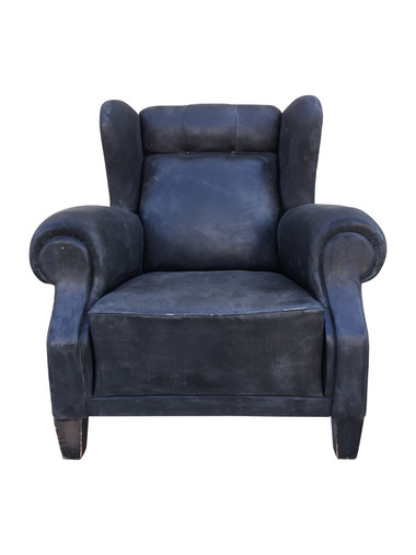 Vintage Black Leather Club Chair 36407