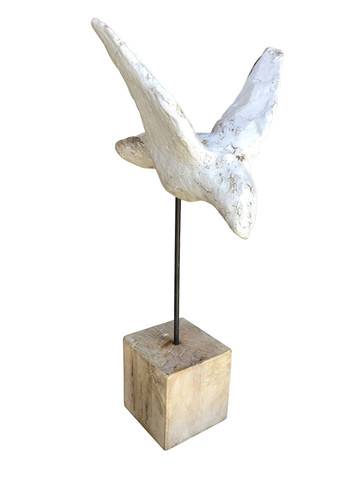 Belgian Cement Bird Mounted on Oak Wood Stand 32853
