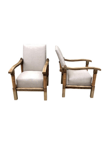 Pair of French 1940's Oak Armchairs 35475