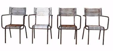 Set of (4) French Mid Century Iron Armchairs 32013