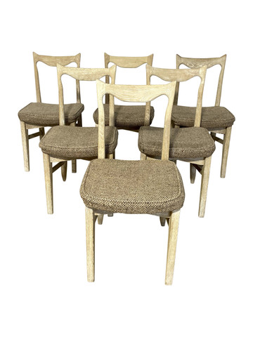 Set of (6) Guillerme & Chambron Oak Dining Chairs 36841