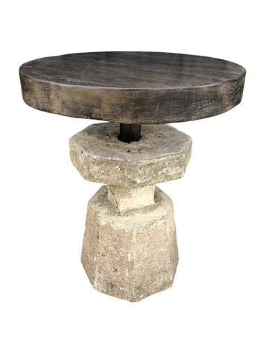 Limited Edition Stone and Wood Side Table 35117