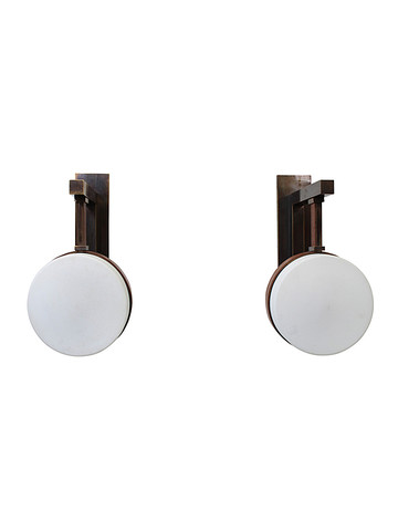 Limited Edition Bronze and Opaline Shade Sconces 29703
