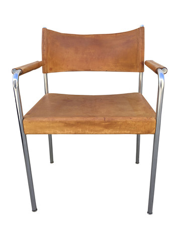 Single French Mid Century Leather Armchair 33750