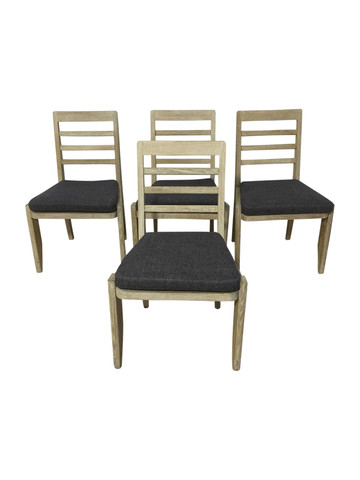 Set of (4) French Oak Dining Chairs 36680