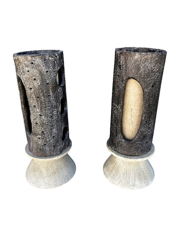 Pair of Limited Edition Ceramic and Oak Base Lamps 35771
