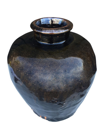 Large Black Glazed Ceramic Vessel from Central Asia 32888