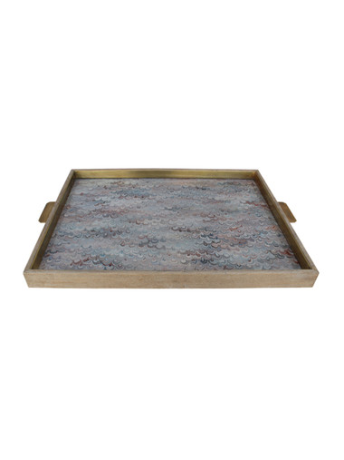 Huge Limited Edition Oak Tray with Vintage Italian Marbleized Paper 25849