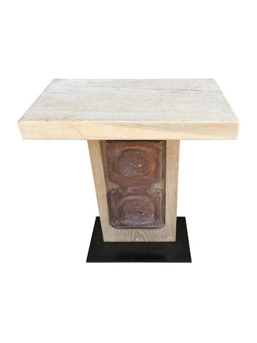 Limited Edition Oak and Ceramic Element Side Table 36147