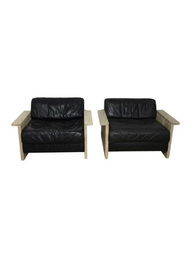 Pair of Large Scale Limited Edition Danish Black Leather and Oak Arm Chairs 36595