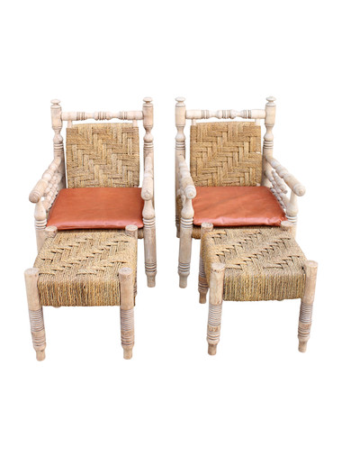 Pair of Arm Chairs and Ottomans by Audoux and Minet 30458