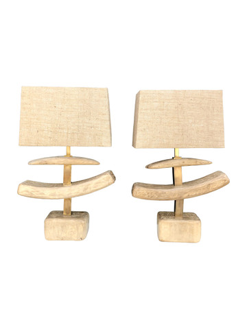 Pair of Limited Edition Organic Wood Lamps 35725