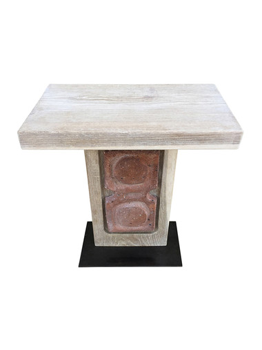 Limited Edition Oak and Ceramic Element Side Table 36149