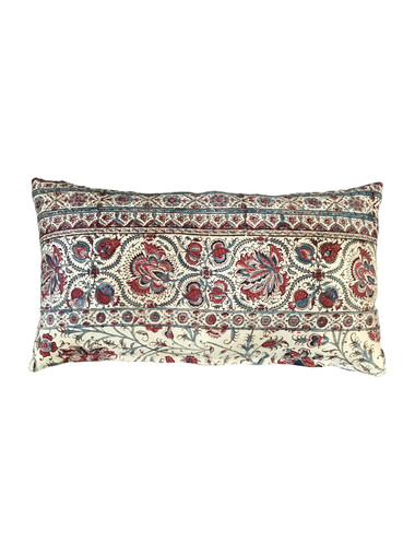Vintage French Print Textile Pillow 34813