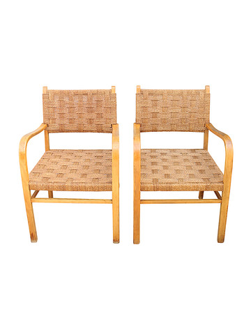 Pair of Beech Seagrass Rope Armchairs 32061