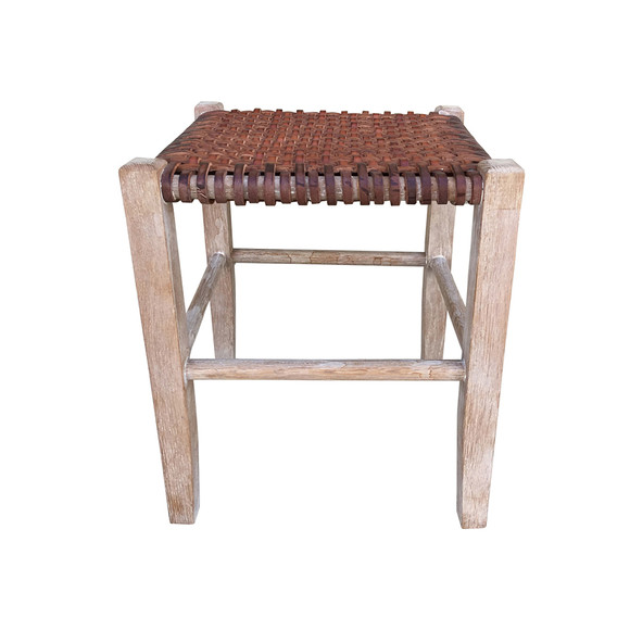 Limited Edition Woven Leather Stool 34616