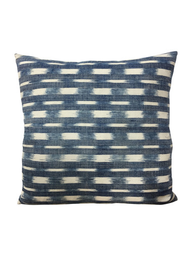 Rare18th French Indigo Flamme Ikat texile pillow 37896