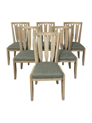 Set of (6)Guillerme et Chambron Cerused Oak Dining Chairs 36453