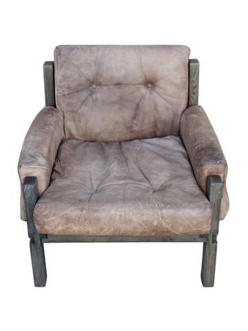 Single Vintage French Leather Arm Chair 27075