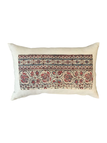 Vintage French Wood Block Textile Pillow 34808