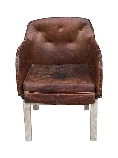 Single Swedish Deco Leather Arm Chairs 30119