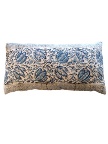 Antique French Textile Pillow in Blue Floral 29428
