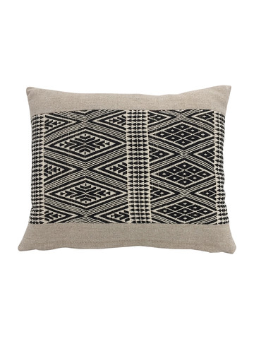 Limited Edition Tribal Black and Natural Embroidery Pillow 34208