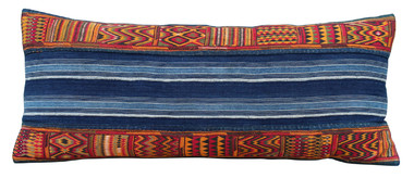 Huge Indigo and Embroidery Central Asia Textile Lumbar Pillow 32749
