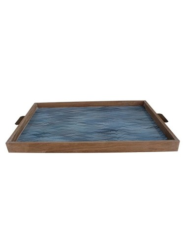 Limited Edition Oak And Vintage Marbleized Paper Tray 36107